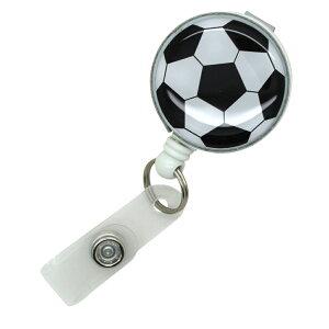 リールストラップ クリップ付き 部活応援 サッカー フットサルパスケース 名札 ストラップ 鍵等と一緒に定形外郵便限定 送料無料