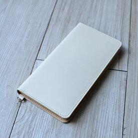 送料無料iPhone XSMax XR X XS 8Plus 6Plus 6sPlus 7Plus 対応牛革スマホケース 手帳型 革 オフホワイト スマートフォンケース 日本製