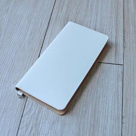 送料無料iPhone XSMax XR X XS 8Plus 6Plus 6sPlus 7Plus 対応牛革スマホケース 手帳型 革 ホワイト スマートフォンケース 日本製