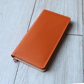 送料無料iPhone XSMax XR X XS 8Plus 6Plus 6sPlus 7Plus 対応牛革スマホケース 手帳型 革 オレンジ スマートフォンケース 日本製