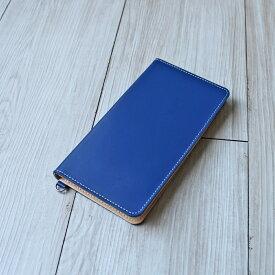送料無料iPhone XSMax XR X XS 8Plus 6Plus 6sPlus 7Plus 対応牛革スマホケース 手帳型 革 マリンブルー スマートフォンケース 日本製
