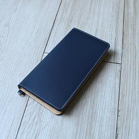 送料無料iPhone XSMax XR X XS 8Plus 6Plus 6sPlus 7Plus 対応牛革スマホケース 手帳型 革 ネイビー スマートフォンケース 日本製