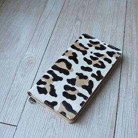 送料無料iPhone XSMax XR X XS 8Plus 6Plus 6sPlus 7Plus 対応牛革スマホケース 手帳型 革 アニマル柄ホワイト スマートフォンケース 日本製