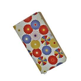 送料無料サイズフリー牛革スマホケース 手帳型 革 ホワイト 和柄 菊文様 スマートフォンケース 日本製