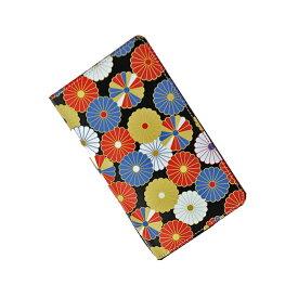 送料無料サイズフリー牛革スマホケース 手帳型 革 ブラック 和柄 菊文様 スマートフォンケース 日本製