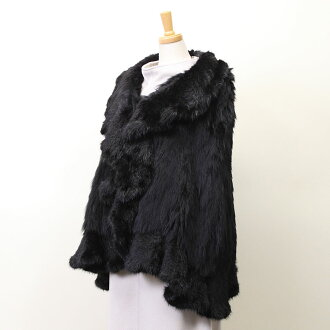 Fur cape black lady's gift present Mother's Day including mink trimming Fox knitting