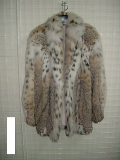 Lynx cat fur jacket natural color Lady's gift present