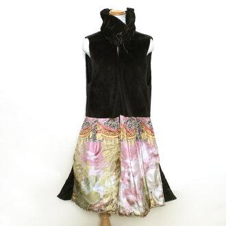 Silk mink fur best black gilet thin vanity quilting dress lady's gift present
