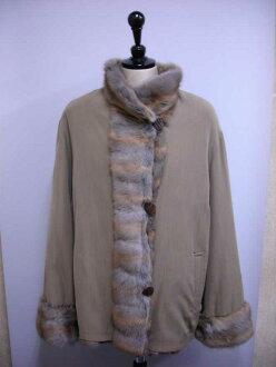 Italian brand squirrel (スキレル), wool reversible fur jacket Lady's gift present