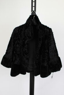 Nutria trimming lamb fur bolero Lady's gift present Mother's Day