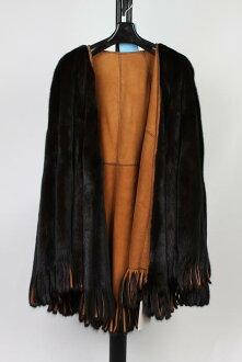 Mink W face reversible fur mantle black camel Lady's gift present