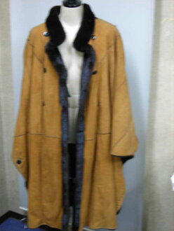 Mink fur trimming W face mantle reversible lady's gift present