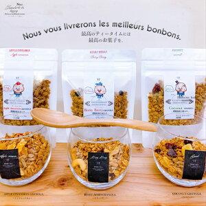 愛媛県産はだか麦のさくさくグラノーラ (ココナッツ アップルシナモン ベリーベリー)(1袋95g) 食物繊維 無添加 グルテンフリー 糖質オフ はだか麦 ドライフルーツ 朝食 無添加 妊婦 ヴィーガ
