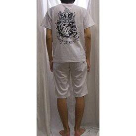 エドハーディ 上下セット (半袖Tシャツ-ハーフパンツ) ブルドッグプリント白x黒 EDMHM-02EDHARDY