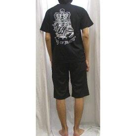 エドハーディ 上下セット (半袖Tシャツ-ハーフパンツ) ブルドッグプリント黒x白 EDMHM-02EDHARDY