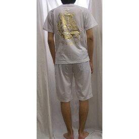エドハーディ 上下セット (半袖Tシャツ-ハーフパンツ) ブルドッグプリント白xゴールド金箔 EDMHM-02EDHARDY