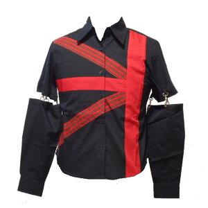 チェック ワッペンシャツSサイズ黒 日本製チェーン付き袖取り外し可3917 パンク ロックライブ 衣装