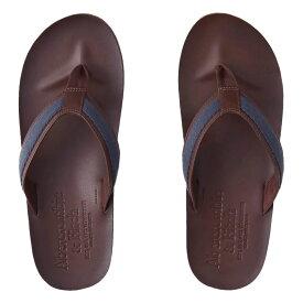 【並行輸入品】アバクロンビー&フィッチ メンズ レザー サンダル Abercrombie&Fitch Leather Flip Flops (ダークブラウン) 【 ビーサン 】