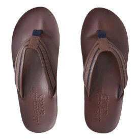 【並行輸入品】アバクロンビー&フィッチ メンズ レザー サンダル Abercrombie&Fitch Logo Flip Flops (ダークブラウン) 【 皮革 靴 】