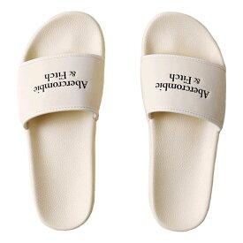 【並行輸入品】アバクロンビー&フィッチ メンズ サンダル Abercrombie&Fitch Logo Slides (クリーム) 【 ビーサン 靴 】