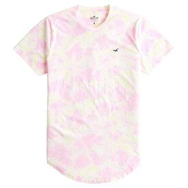 【並行輸入品】【メール便送料無料】ホリスター メンズ Tシャツ ( 半袖 ) Hollister Tie-Dye Curved Hem T-Shirt (ピンクイエロー) 【 tシャツ tシャツ 】