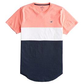 【並行輸入品】【メール便送料無料】ホリスター メンズ Tシャツ ( 半袖 ) Hollister Colorblock Curved Hem T-Shirt (ピンク) 【 tシャツ tシャツ 】