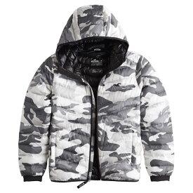 【並行輸入品】ホリスター メンズ ダウン ジャケット ( 550フィルパワー ) Hollister Lightweight Hooded Puffer Jacket (ホワイトカモフラージュ) 【 ダウンジャケット アウター 】