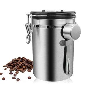 コーヒー豆 容器 ステンレス鋼 気密 密閉型 スプーン 保存 小麦粉 シュガー ホルダー 缶 収納 瓶 キッチン用品 便利 chy1957