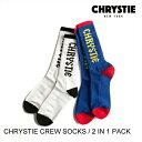 CHRYSTIE NYC クリスティ CREW SOCKS 2IN1 スケート・メンズ・靴下・ソックス 人気上昇中!ビビットカラー [セ]