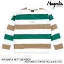 MAGENTASKATEBOARDSマジェンタAUTUMNSTRIPESPIQUEL/STEEWHITES-L長袖Tシャツ[セ]
