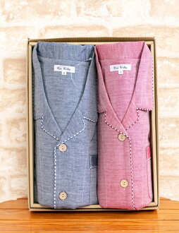 Back in stock! ガーゼペア Pajamas 100% cotton double gauze plain gingham trim shirt pajamas