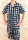 【父の日ギフト無料ラッピング】綿100%肌に優しく涼しい楊柳 メンズパジャマ夏 半袖ハーフパンツ 【盛夏向き商品…
