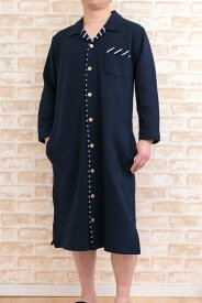 綿100%ニット地キルト メンズスリーパー メンズパジャマ 長袖 冬に適した素材 LLサイズあり 紳士ワンピース 入院パジャジャマ  ホテルパジャマ  ネグリジェ