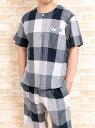 【送料無料】綿100%薄くて涼しい楊柳生地 メンズパジャマ夏 半袖かぶりハーフパンツ【盛夏向き商品】【男性用ナイトウェア】【ルームウェア】