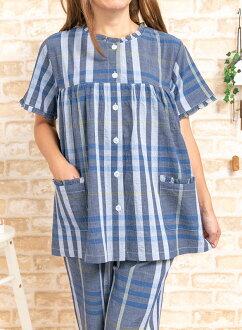 酷棉材料 100%染的皱妇女加工颜色检查模式短袖差异睡衣