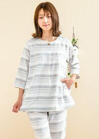 ダブルガーゼ 肌にやさし綿100% パジャマ レディース 七分袖八分パンツ 半開かぶりタイプ 春夏向き ルームウェア 【Sサイズ】【LLサイズ】