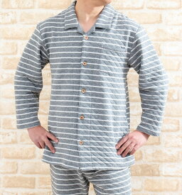 メンズ パジャマ 暖かく肌に優しい綿100%中わたニットキルト地ボーダー 前開き長袖 冬向き 紳士ナイトウェア ルームウェア【LLサイズ】【3Lサイズ】有り 入院準備 ギフト