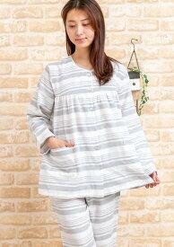 ガーゼパジャマ レディース 春秋 肌に優しい綿100%ランダムボーダー 入院準備 母の日 Sサイズ LLサイズ