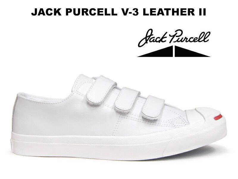 コンバース レザー ジャックパーセル CONVERSE JACK PURCELL V-3 LEATHER II ベルクロ ホワイト 白 赤スマイル スニーカー レディース メンズ ローカット 限定