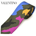 ネクタイ ヴァレンティノ メンズ VALENTINO 迷彩カモフラ柄シルク/ナロータイ ビジネス (剣幅約6.0cm)evt036 マルチカ…