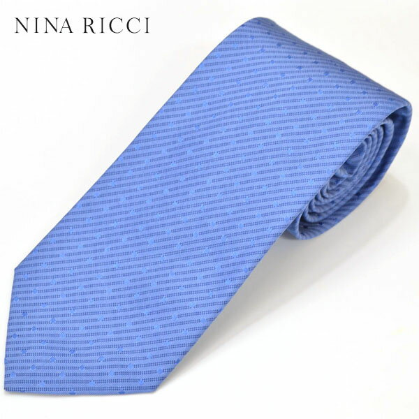 NINA RICCI ニナ リッチ メンズ ストライプドット柄シルクネクタイ サイズ剣幅7.5cm enr17s011 E7752-4 (004-2):ブルー
