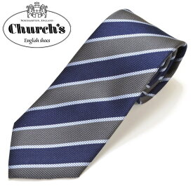 Church's チャーチ メンズ ストライプ柄シルクネクタイ サイズ剣幅8cm ecc17w009 012019-07:グレー×ネイビー