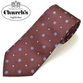 Church's チャーチ メンズ 小柄シルクネクタイ サイズ剣幅8cm ecc17w018 H00747-05:ボルドー×ブルー