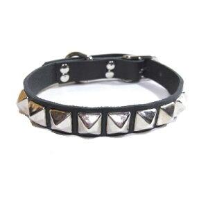 犬の首輪 レザー スタッズ付き 2cm幅