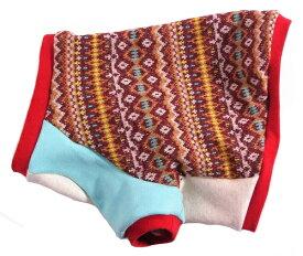 フレンチブルドッグ 服 冬 パグ 服 幾何学ジャガード ウォーミーラグラン カラーブロックシリーズ
