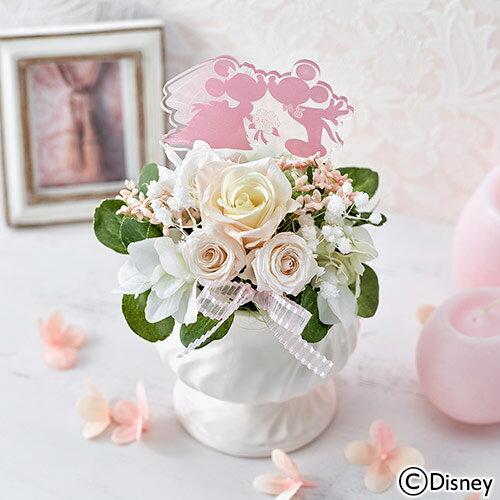 【日比谷花壇】 ディズニー プリザーブド&アーティフィシャルアレンジメント「ミッキー&ミニー HAPPY WEDDING」 【Disneyzone】