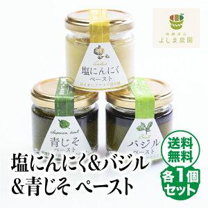 飛騨高山よしま農園の自然栽培調味料シリーズ バジル 塩にんにく 青じそ ペースト 塩 詰め合わせ 送料無料