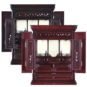 唐木仏壇・桜坂 20号【仏壇】欄間や内扉に彫られた桜の花の螺鈿細工が非常に美しく映える唐木仏壇。珍しい天井にライトも備え、御本尊を桜の花とライトで照らします