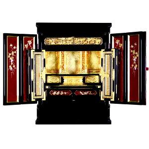 金仏壇・彩光 西用 18号【仏壇】浄土真宗 本願寺派など西本願寺用の金仏壇で、ワイン超の色味と金の色が非常に映えるモダン風の金仏壇。扉に蒔絵を施したワンランク上のおしゃれさです