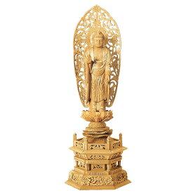 仏像・舟立弥陀(楠木地彫 六角台座 金泥書き)4.5寸(高さ:34.0cm)【仏具】浄土宗の御本尊の阿弥陀如来を高級木材の楠木を使い職人が仕上げた本格的な仏像
